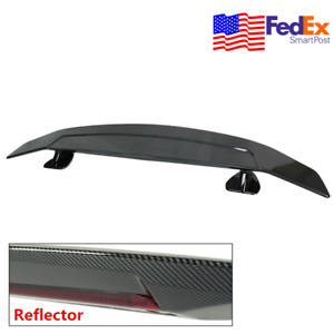 52 Inch Car Trunk Spoiler Wing W Tape Reflector 3d Carbon Fiber Style Universal