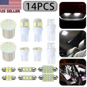 14pcs White Led Interior Package Kit T10 31mm Map Dome License Plate Lights