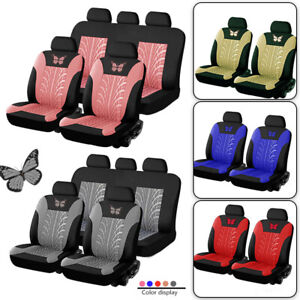 Butterfly Car Seat Protector Front Rear Seat Headrest Covers Car Interior Decor
