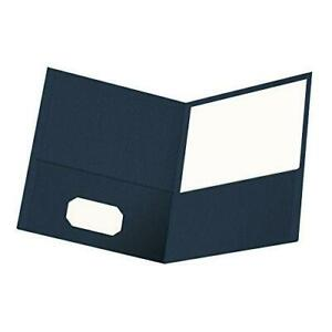 Oxford Twin pocket Folders Textured Paper Letter Size Dark Blue Holds 100