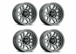 Set 4 17x9 Vision Manx 2 Overland Satin Grey 5x5 For Jeep Wheels 20mm W Lugs