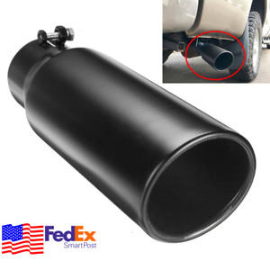 12 Inch Car Exhaust Tip Tail Pipe Black Stainless 3 Inlet Angle Cut Rolled Tube