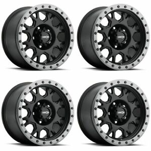 Set 4 17x9 Vision Gv8 Invader Black Anthracite Lip 5x5 5 Wheels 20mm W Lugs