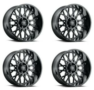 Set 4 18x9 Vision Off Road 412 Rocker Black 5x5 For Jeep Wheels 12mm W Lugs