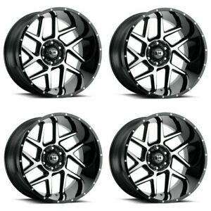 Set 4 20x9 Vision Sliver Gloss Black Machined Face 5x150 Wheels 12mm W Lugs