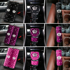 Car Bling Crystal Velvet Interior Trim Decor Diamond Crown Handbrake gear Cover