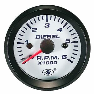 52 Mm Tachometer Automobile Gauge Electrical Diesel 6000 Rpm In Dash White