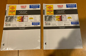 Five Star Reinforced Filler Paper College Ruled 100 Sheets pack Lot Of 2 mcl