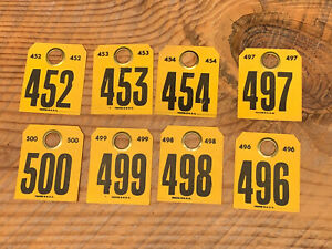 Vintage Cattle Cow Tags 8 Piece Lot Collector Item Steakhouse Table Numbers
