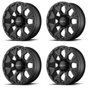 Set 4 17x9 Helo He878 Black Wheels 5x5 12mm Lifted For Jeep Rims 5 Lug W Lugs