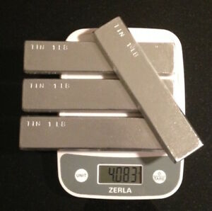Tin Metal Ingot 99 Pure 4 Pounds Total In 4 One Pound Bars