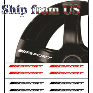 4pc Pack Wheels Rims Sport Racing Decal Stripes Stickers Emblem For Race Car Suv
