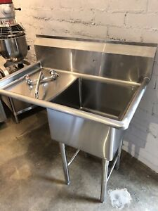 New Commercial 1 Tub Prep Sink 18 x18 With 1 Left Drainboard 18 Gauge