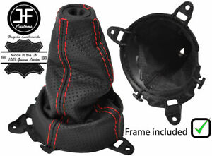 Red Stitch Perforated Shift Boot frame ring For Honda Civic Type R Fn2 06 12