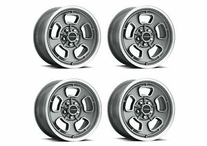 Set 4 15x7 Vision Shift Grey Machined Face lip 5x4 75 Wheels 6mm W Lugs