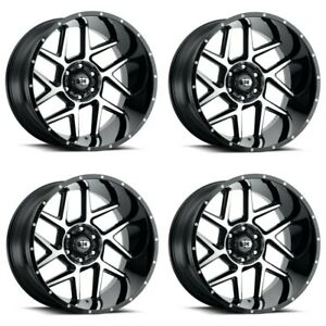 Set 4 24x12 Vision Sliver Gloss Black Machined Face 6x5 5 Wheels 57mm W Lugs