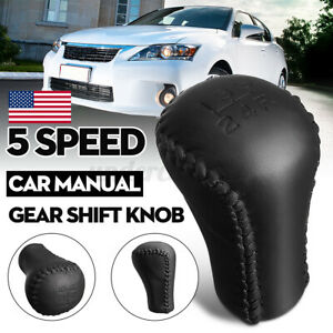 5 Speed Pu Leather Gear Shifter Shift Knob Head Black For Toyota Lexus Scion Us