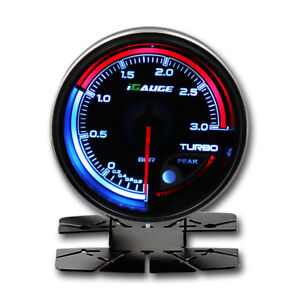 60 Mm Auto Electrical Turbo Boost Gauge Multi Led Back Light Colors Display Bar
