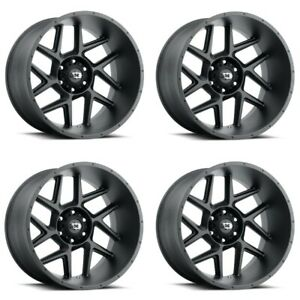 Set 4 20x12 Vision Off Road Sliver Satin Black 6x5 5 Wheels 55mm Rims W Lugs
