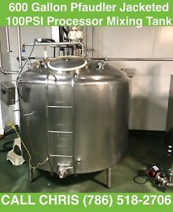 600 Gallon Pfaudler Jacketed 100psi Processor Mixing Tank Stainless Steel