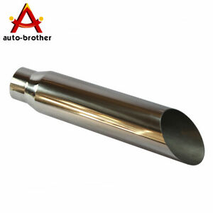 Exhaust Tip Tail Pipe 3 Inch Inlet 18 Long 4 Outlet Rolled End Angle Cut Truck