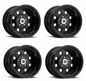 Set 4 15x10 Vision American Muscle Street Lite Black 5x4 5 Wheels 25mm W Lugs