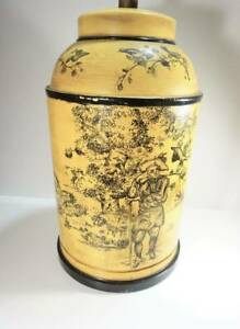 French Provincial Tea Tin Tole Lamp Mustard Yellow Frederick Cooper