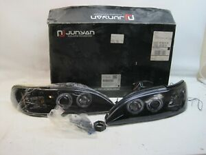 New Set Junyan 1994 1998 Mustang Projector Type Black Headlights Hu775 02