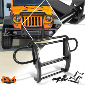 For 07 17 Jeep Wrangler Front Bumper Brush Grille Guard Protector Coated Black