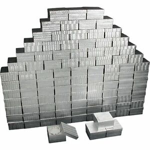Cotton Filled Jewelry Gift Boxes Silver 3 3 4 100pcs