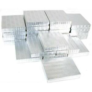 25 Silver Foil Cotton Filled Jewelry Gift Boxes 6 1 8
