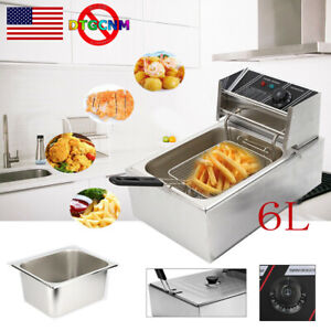 2500w 6l 6 3qt Electric Deep Fryer Commercial Stainless Steel Fry Basket Home