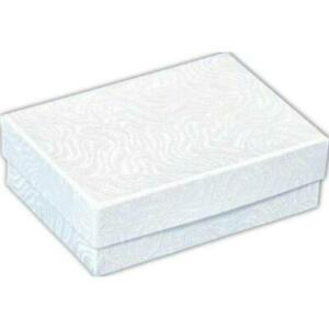 White Swirl Cotton Filled Jewelry Display Gift Box 3 X 2