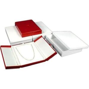 3 Large Necklace Boxes Red Faux Leather Display