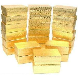 24 Gold Foil Cotton Filled Jewelry Gift Boxes 2 5 8