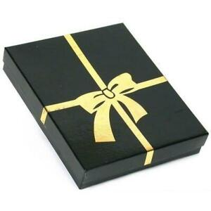 Black W gold Bow Cotton Filled Jewelry Gift Box 6 1 8