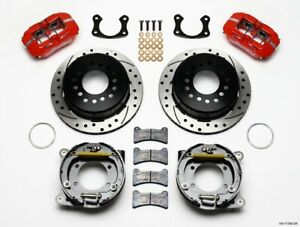 Wilwood Rear Disc Brake Kit Big Ford Red Caliper Drilled Pn 140 11389 Dr