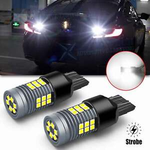 7443 Led Strobe Flashing Reverse Light Bulbs Bright Lamps For Honda Civic Accord