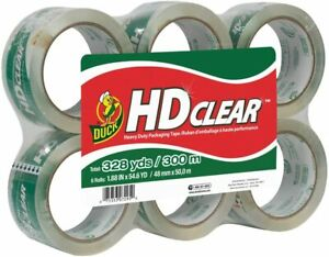 Duck Hd Clear Heavy Duty Packing Tape Refill 6 Rolls 1 88 Inch X 54 6 Yard New