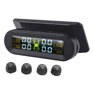 Universal Tire Pressure Monitor With External Sensors Wireless Solar Tpms New