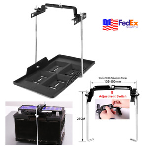 9inch Screw Rod Car Battery Tray Holder Adjustable Hold Down Clamp Bracket Kit