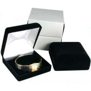 2 Black Flocked Watch Bracelet Jewelry Gift Boxes