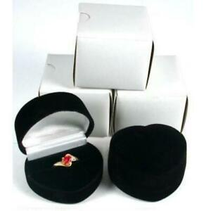 3 Heart Ring Gift Boxes Black Showcase Displays