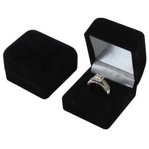 2 Black Velvet Flocked Ring Gift Boxes Jewelry Display