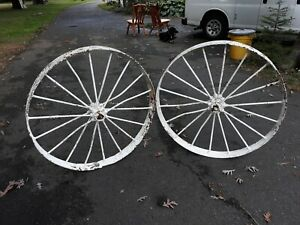 Pair Large Antique Iron Wagon Wheels In White Paint