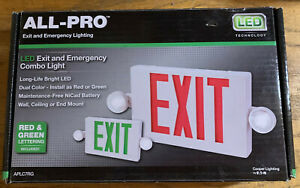 Eatons Cooper All pro Red green Led Hardwired Exit Emergency Light Combo Aplc7rg