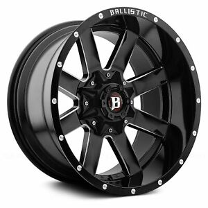 20 Inch 5x135 139 7 Wheel Rim Ballistic 964 machete 20x10 24 Gloss Black