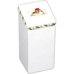White Faux Leather Ring Box Display