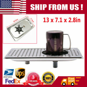 Glass Rinser Stainless Steel Drip Tray Cup Washer 13 7 1 Cleaner Bar Kitchen