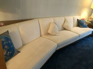 Large Mid Century Modern Wood And Fabric 2 Iece Sectional Sofa Couch Pillows